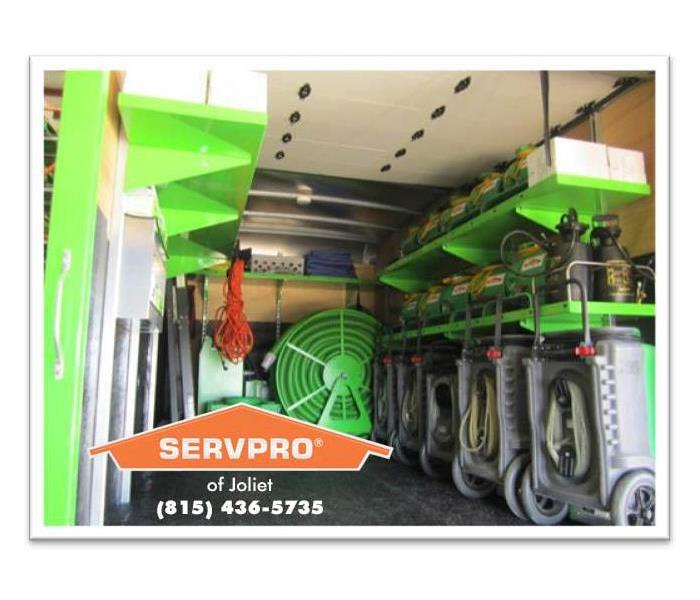 Equipment in back of SERVPRO truck.