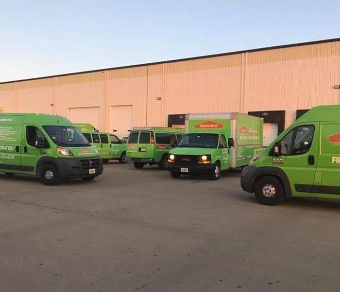Six SERVPRO vehicles ready to go on the road