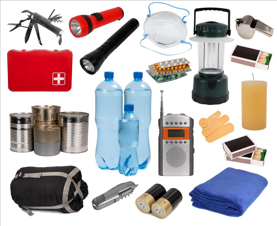 Flash light, sleeping bag, bottled water, first aid, portable radio, matches, medicine, band aids, whistle, blanket.