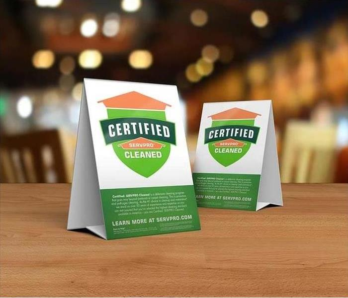 Certified: SERVPRO Cleaned Place cards on a table